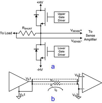 Измерение малых напряжений при наличии высоких синфазных напряжений (а) и устранение контуров заземления (б)