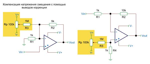 Примеры приложения корректирующих напряжений к различным узлам схемы