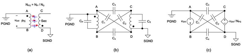 Двухобмоточный трансформатор для анализа синфазных шумов (a), модель с шестью конденсаторами (b) и модель с четырьмя конденсаторами (c).