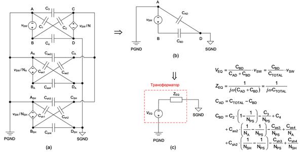 Модель паразитных емкостей многообмоточного трансформатора обратноходового преобразователя (a), двухконденсаторная модель (b) и эквивалентная схема, полученная с использованием теоремы Тевенина (c).