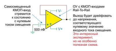 Rail-to-rail-усилитель с КМОП-входом сам дополнительно смещает свой вход (схема не рекомендуется к использованию!)