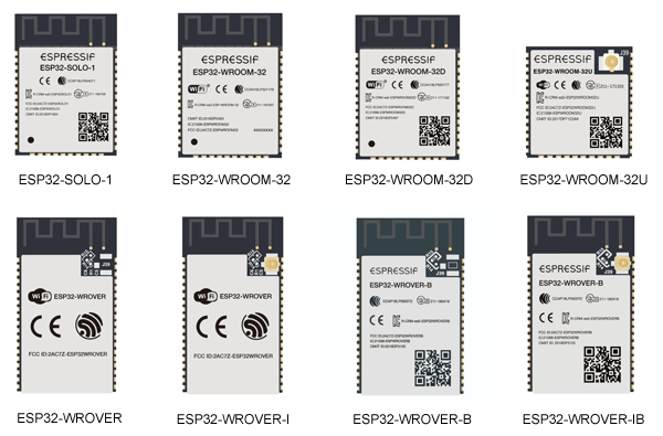 Внешний вид Wi-Fi + BT + BLE-модулей на базе микросхемы ESP32
