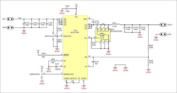 Схема понижающего преобразователя +3,3 В, 16,5 Вт