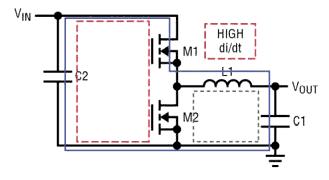 Упрощенный синхронный импульсный понижающий преобразователь напряжения и присущие его топологии цепи с высокой скоростью нарастания тока