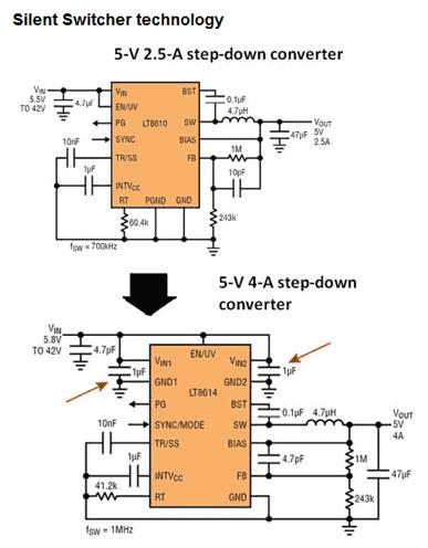 В Silent Switcher (бесшумный коммутатор) LT8614 добавлены второе VIN и заземляющий контакт для подключения фильтрующих конденсаторов