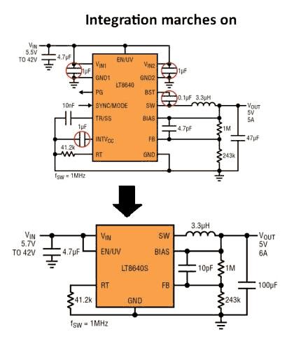 LT8640 и более интегрированные LT8640S (номер изделий в версии с более высокой степенью интеграции имеет суффикс «S»)