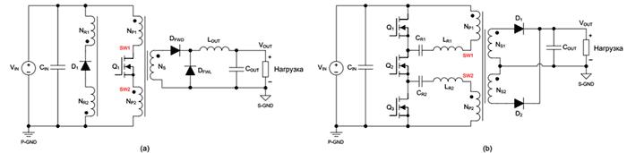 Симметричная конструкция первичной обмотки может использоваться в однотактных прямоходовых преобразователях (a) и в резонансных LLC-преобразователях (b).