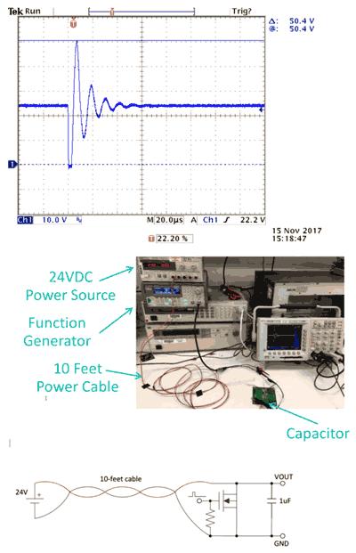 Звон напряжения в длинном кабеле после имитации кратковременного короткого замыкания (а), настройки испытательной цепи (б) и схема испытательной цепи (в)