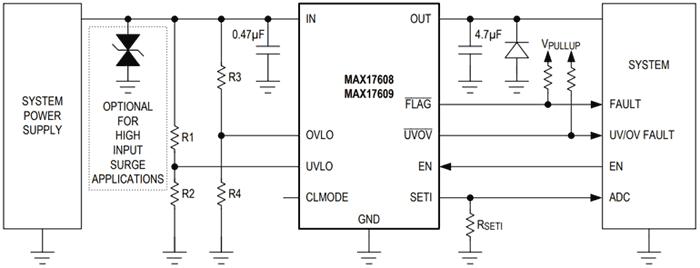 Подключение компактной защитной ИС MAX17608/9 с высокой степенью интеграции