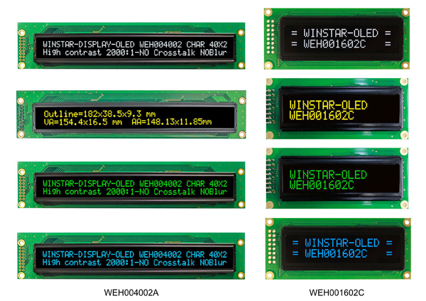 Примеры символьных OLED-дисплеев производства Winstar