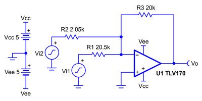 Схема инвертирующего сумматора на ОУ