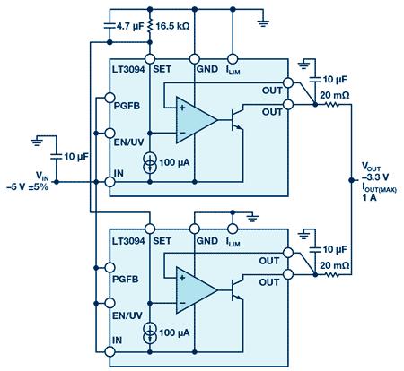 Схема двух параллельных LT3094