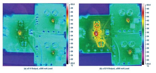 Тепловое изображение двухполярного источника питания со входным напряжением 12 В