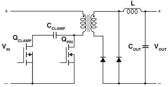 Упрощенная схема традиционного прямоходового преобразователя (с выпрямительными диодами)
