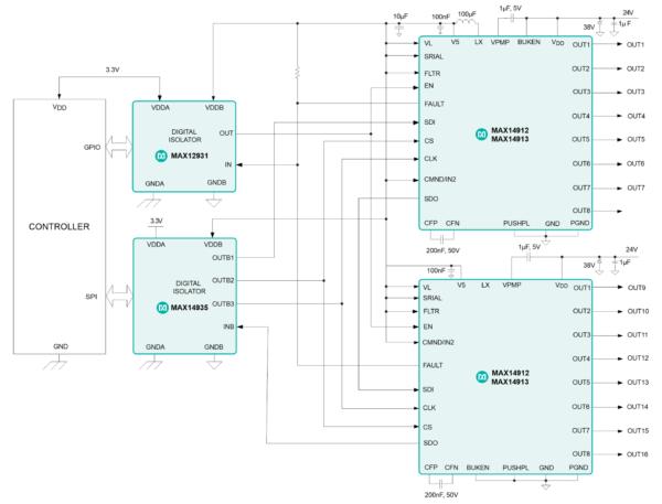 Типовая схема включения MAX14912/MAX14913