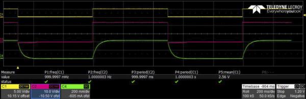 Диаграммы MAX14900E при выполнении размагничивания с обратным диодом