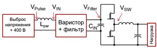 Схема понижающего преобразователя, используемого для моделирования