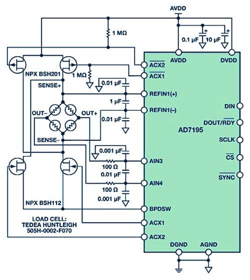 CN-0155 – схема прецизионных весов, построенных на базе 24-битного Σ-Δ АЦП с внутренним программируемым усилением и переменным возбуждением