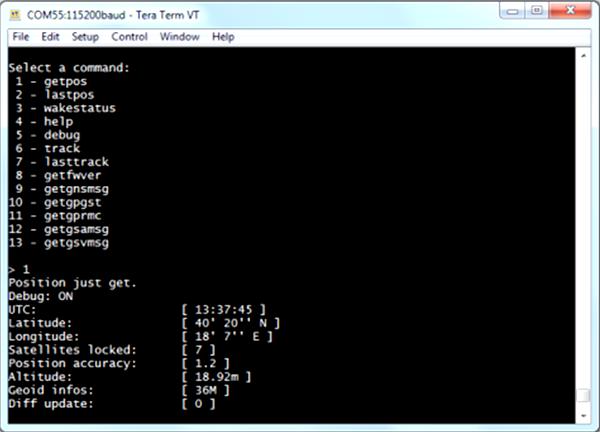 Пример выдачи результата при выборе опции «1 – getpos»