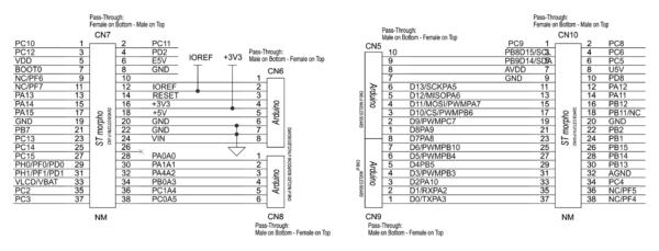 Распиновка разъемов подключения платы X-NUCLEO-GNSS1A1