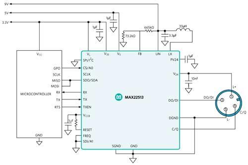 MAX22513 – IO-Link-трансивер, который имеет встроенный понижающий преобразователь и два линейных стабилизатора