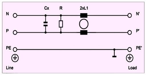 Фильтры типа B (B-type) не имеют в своем составе конденсаторов, подключенных к шине заземления PE
