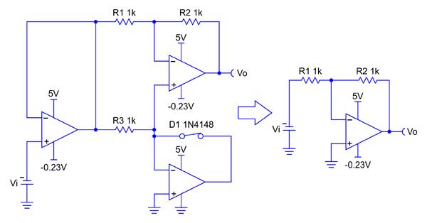 Эквивалентная схема для отрицательной полуволны входного сигнала