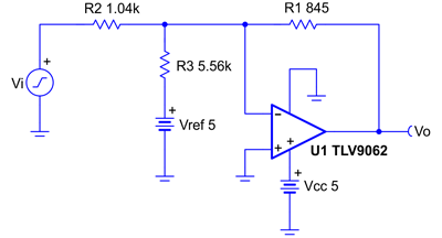 Схема инвертирующего усилителя со смещением инвертирующего входа