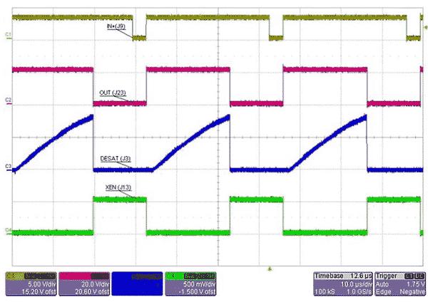 Осциллограммы сигналов CH1-IN +, CH2-OUT, CH3-DESAT, CH4-XEN. Случай, когда напряжение VDESAT достигает 7,5 В