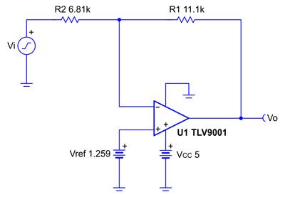 Схема инвертирующего усилителя со смещением неинвертирующего входа