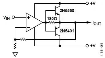 Если требуется дополнительный выходной ток, пара транзисторов PNP / NPN добавляется к выходу ADA4700-1