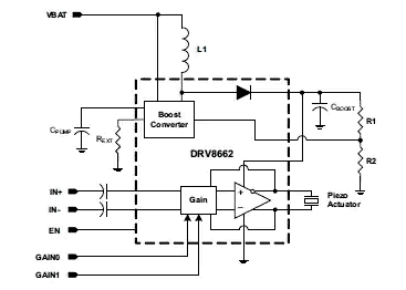 DRV8662 - это пьезодрайвер, предназначенный для тактильных приложений, который выдает напряжение более 100 В при питании от низковольтного источника питания