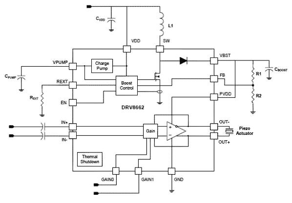 Несмотря на свою внутреннюю сложность, для использования DRV8662 в схеме требуется всего несколько внешних компонентов для установки основных рабочих параметров
