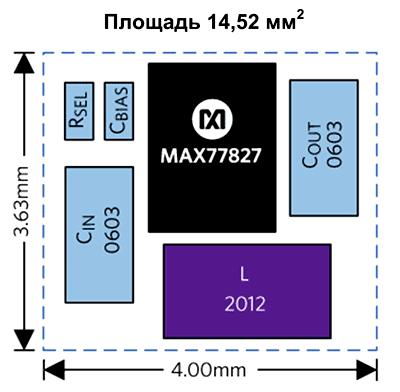 Площадь преобразователя на базе MAX77827 составляет всего 14,52 мм2