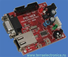 PIC-WEB – отладочная плата аппаратного веб-сервера на базе микроконтроллера PIC от MICROCHIP