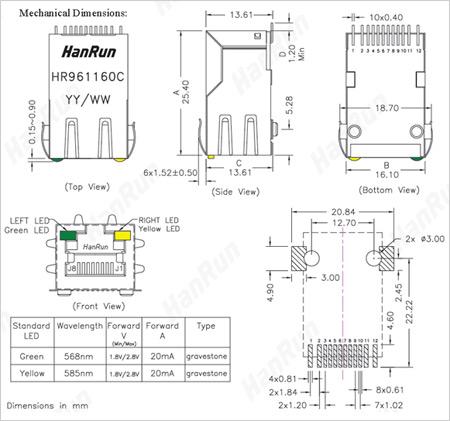 Посадочные и присоединительные размеры HR961160C