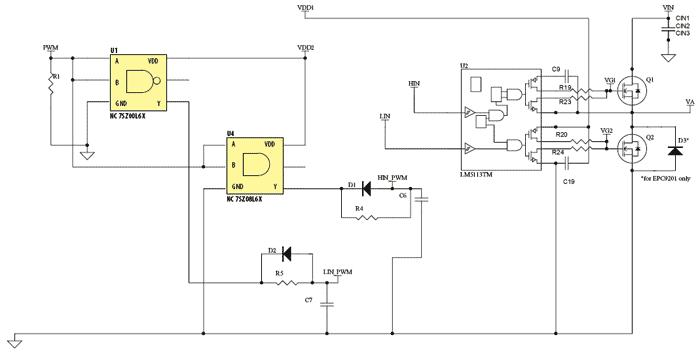 Схема принципиальная электрическая отладочной платы EPC9201/ EPC9203