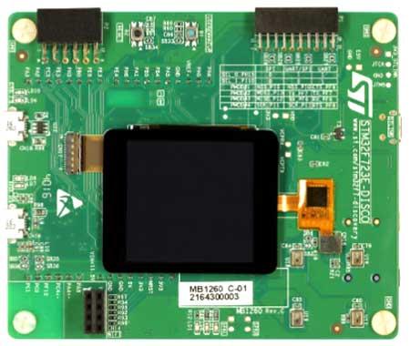 Отладочная плата STM32F723E-DISCO. Вид сверху