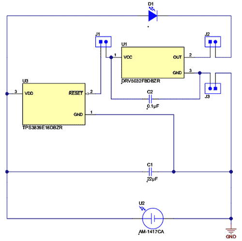 Схема принципиальная электрическая оценочного модуля DRV5032-SOLAR-EVM