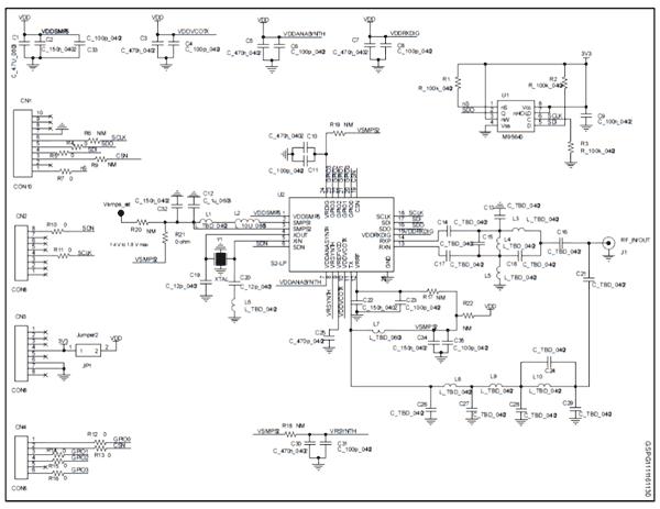 Схема принципиальная электрическая оценочной платы STEVAL-FKI433V1