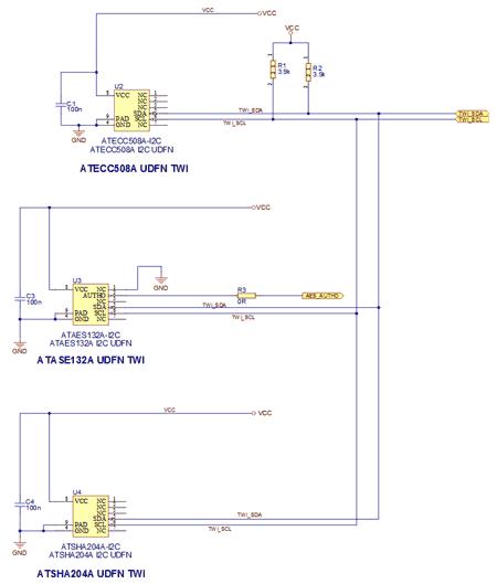 Схема принципиальная электрическая платы расширения ATCRYPTOAUTH-XPRO