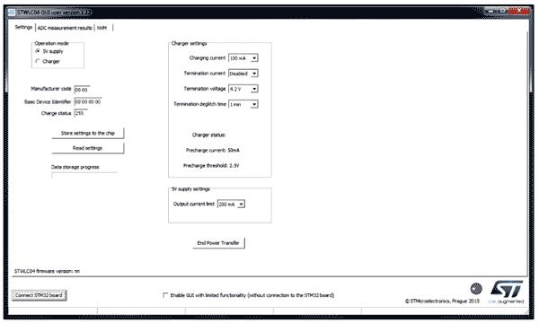 Вид окна GUI для приемника STWLC04
