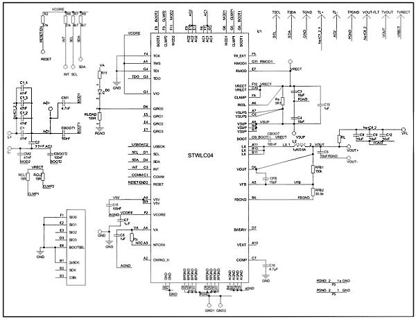 Схема принципиальная электрическая платы приемника STEVAL-ISB038V1R