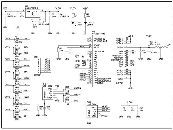 Схема принципиальная электрическая преобразователя USB-I2C