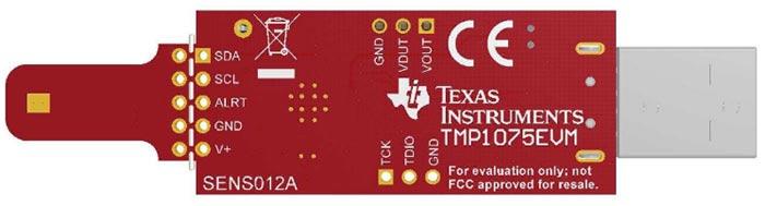 Оценочная плата цифрового датчика температуры TMP1075. Вид снизу