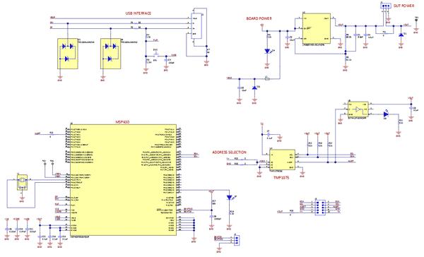 Схема принципиальная электрическая платы TMP1075EVM