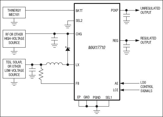 Упрощенная схема включения микросхемы MAX17710