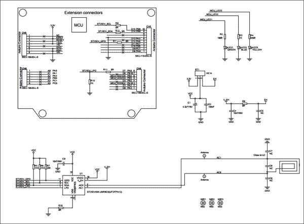 Схема принципиальная электрическая платы расширения X-NUCLEO-NFC04A1