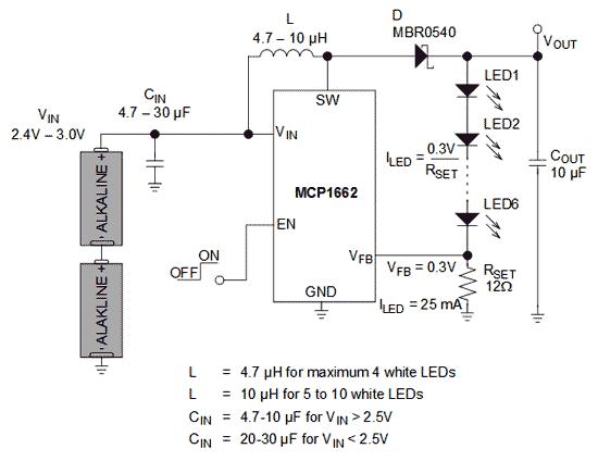 Типичная схема включения микросхемы MCP1662