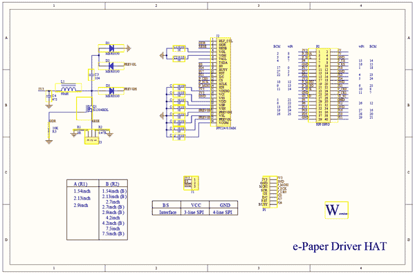 Схема принципиальная электрическая e-Paper Driver HAT